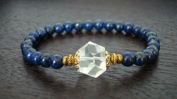 Women's Intuition & Awareness Mala Bracelet // Lapis Lazuli Herkimer Diamond Bracelet // Yoga, Buddhist, Jewelry, Meditation, Prayer Beads