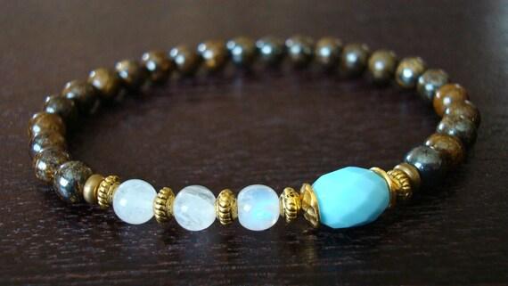 Women's Healing Mala Bracelet - Amazonite Quartz & Moonstone Healing Mala Bracelet - Yoga, Buddhist, Prayer Beads, Jewelry, Meditation