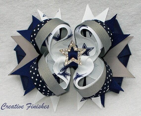 Cowboys Bow, Dallas Hair Bow, Star Rhinestone Center