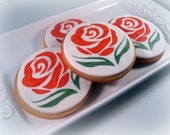 Wedding Favor Cookie Rose Decorated   -  Set of 6 Cookies