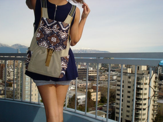 Canvas Backpack with Southwestern details