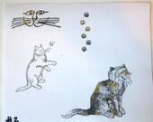 Rubber Stamp Lot - 4 Pieces - Cats - Destash