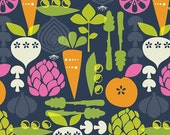 "Kitchy Kitchen Fabric by Maude Asbury ""Vegetable Garden in Navy"" for Blend Fabrics- 1 yard"