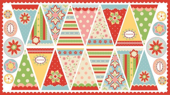 SALE Delighted Fabric by The Quilted Fish for Riley Blake Designs- Bunting Flag Panel