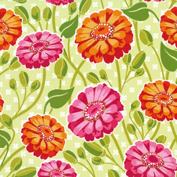 SALE SALE - Lush Creamsicle Zinnia Garden DC5383 by Patty Young for Michael Miller - 1 yard