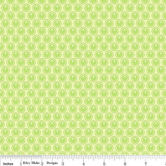 SALE Woodland Tails Green Dots by Sheri McCulley for Riley Blake - C-2777  - 1 yard (BTY)
