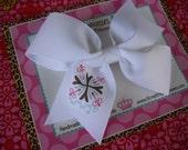 WWJD 4 Inch Bow Prints Half Pinwheel Hair Bow--Ready to Ship