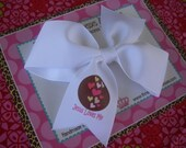 Jesus Loves Me 4 Inch Bow Prints Half Pinwheel Bow--Ready to Ship
