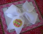 Jesus is my BFF 4 Inch Bow Prints Half Pinwheel Hair Bow--Ready to Ship