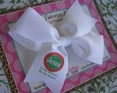 Jesus is the Reason for the Season 4 Inch Bow Prints Half Pinwheel Hair Bow--Ready to Ship