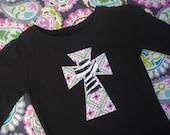 Double Layered Zebra Print Cross Black Long Sleeved Shirt--Ready to Ship Size 3T