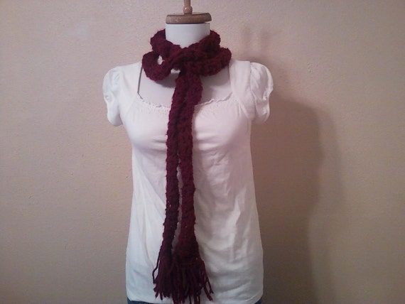 Long Scarf: Extra Long Layering Scarf/ Maroon Fashion Scarf
