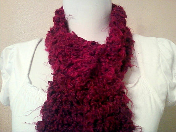 Warm, Long Maroon Scarf/ Soft Red Crocheted Scarf: Women's Fuzzy Scarf