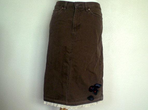 Brown Denim Skirt: Women's Jean Skirt