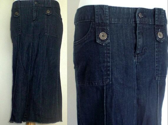 Long Denim Skirt: Jean Skirt With Button Detail/ Women's Size 6 Blue Jean Skirt, Modest