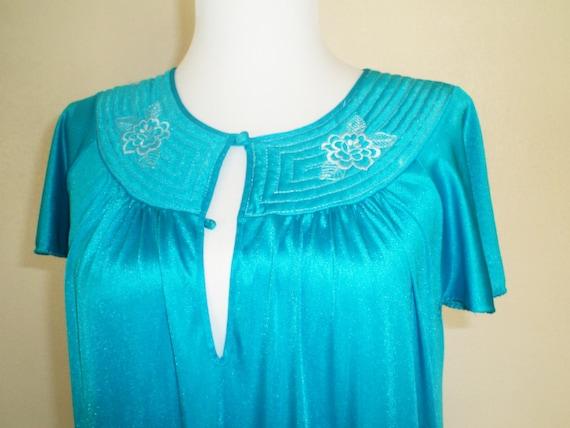 Blue Nightgown: Vintage Aqua Enkalure Nylon Gown/ Kayser Lingerie Semi-Sheer