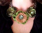 Necklace Green Velvet and Taffeta Statement/Bib