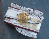 Steampunk Inspired Canvas and Faux-Leather Cuff Bracelet with Gold Button