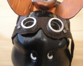 Steampunk Style Flying Pig with Copper Wings  and Silver Goggles Piggy Bank
