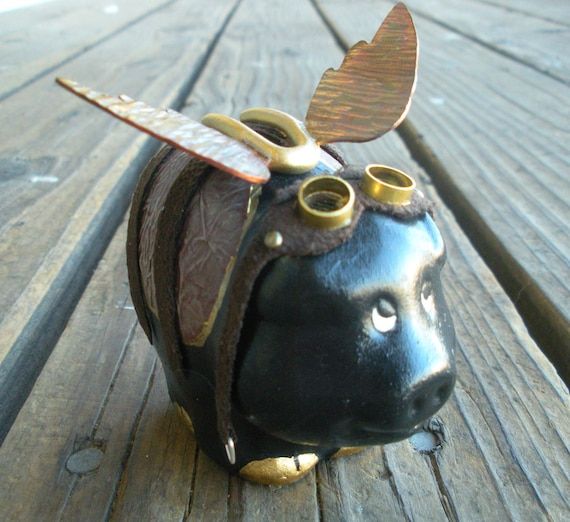 Steampunk Style Flying Pig Piggy Bank