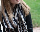 Pon de Replay - Celebrity Inspired Hand Crocheted Scarf - Brown, Black, Tan, and Silver Zigzag FREE GIFT WRAPPING