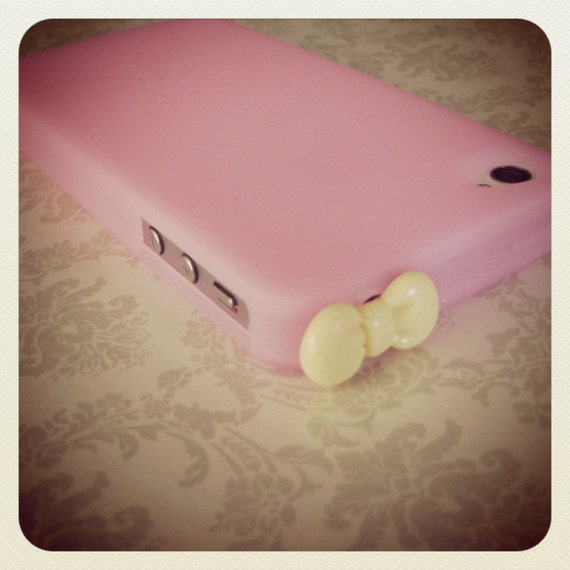 Adorable iPhone 4/4S Case with Bow Plug - Pink case and yellow bow