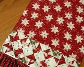 Patchwork Kitchen Towel - Poinsettia Magic Cross