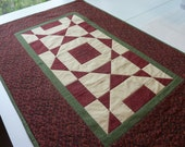 Quilted Table Runner - Thimbleberries Cranberry and Cream