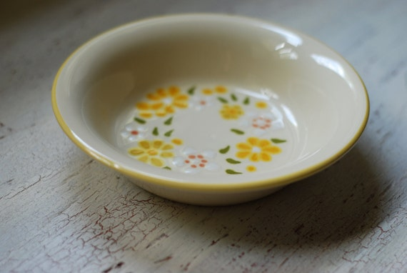 Cereal Bowl Yellow with Flowers-Franciscan Earthenware