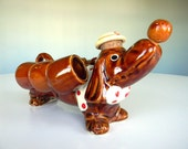 Ceramic Dog Liquor Decanter with Shot Glasses - Dachshund with Hat - Retro Hand Painted Display Piece