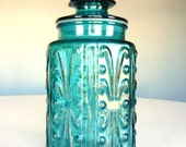 Vintage Aqua Blue Glass Candy Storage Jar Container