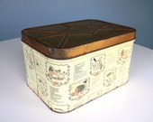 Vintage Bread Box Metal Storage Container Recipe Tin