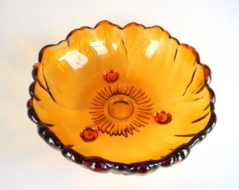 SALE Vintage Amber Orange Glass Flower Serving Bowl-Colony Glass Company