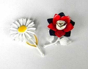 Vintage Enamel Flower Pin Brooch Set Pair Daisy Rose
