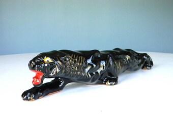 Vintage Panther Ceramic Black Mid Century Modern Japan