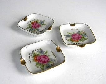 Vintage Mini Ashtrays Square Rose Flowers Women Glass Floral Stackable Set