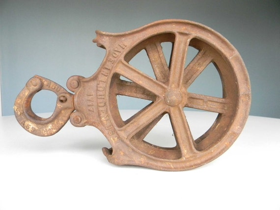 Industrial Hay Carrier Heavy Duty Pulley - Large Old Antique Tool - Great Decorative Piece - Still works