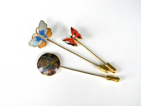 Vintage Butterfly Stick Pin Set Collection Gold Tone