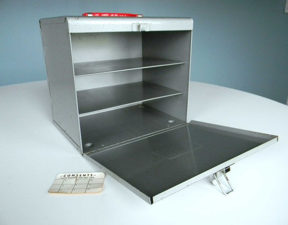 Vintage Box Container Industrial Storage Organizer Tray Metal Tool