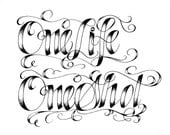 Custom Calligraphy for Tatoos, Tshirts, Posters MADE TO ORDER