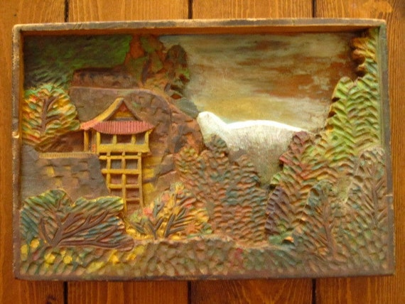 "1940's folk art ""pagoda two"" bas relief hodgson wood carving"