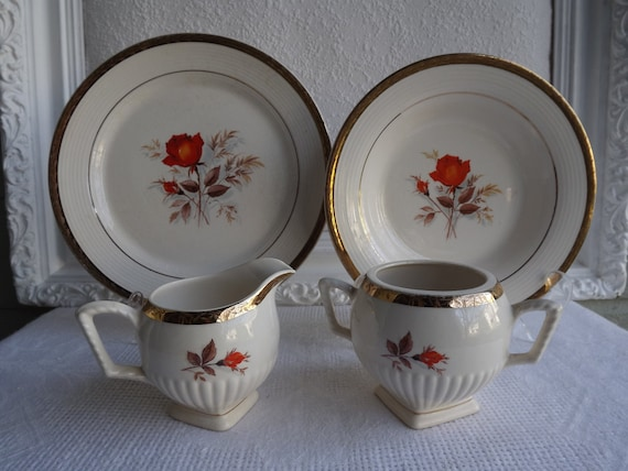 Vintage American Limoges 11 Piece Collection Vermilion Rose China Set Circa 1940's