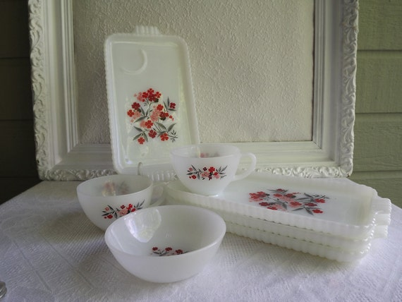 Vintage Fire King Primrose Snack Set Four Trays,Two Cups and One Bowl Circa 1960's