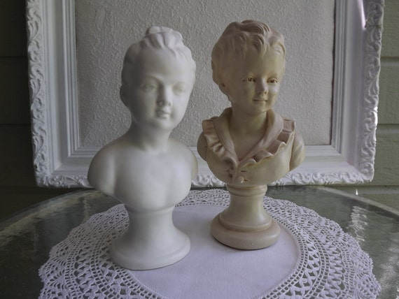 Vintage Pair of Brongniart Children's Busts Originals In The Louvre Mixed Media Resign And Plaster