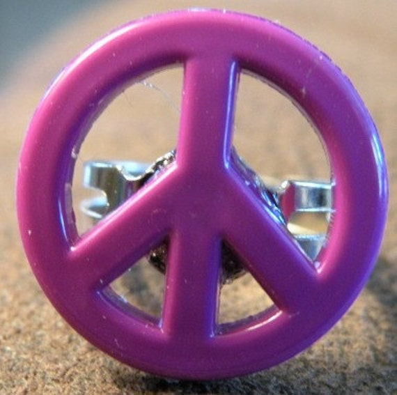 Purple  peace sign ring