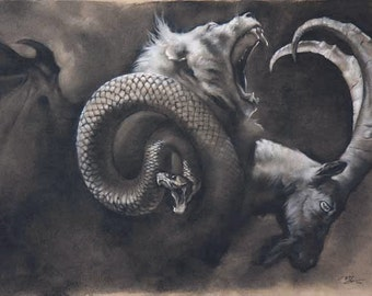 Dusk - the mythical chimera - 8.5 x 11 art print of a charcoal drawing