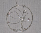 Wire Wrapped Tree of Life Pendant with Pink Glass Beads - Breast Cancer Fundraiser