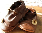 Reserved Custom Listing for Mandy Slayton - Size 6-12 months Upcycled Wiggle Proof Brown Button Leather Soft Soled Shoes