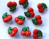 Red Cherry Buttons - 10 pieces - Large Rockabilly/ Kawaii Fruit Buttons