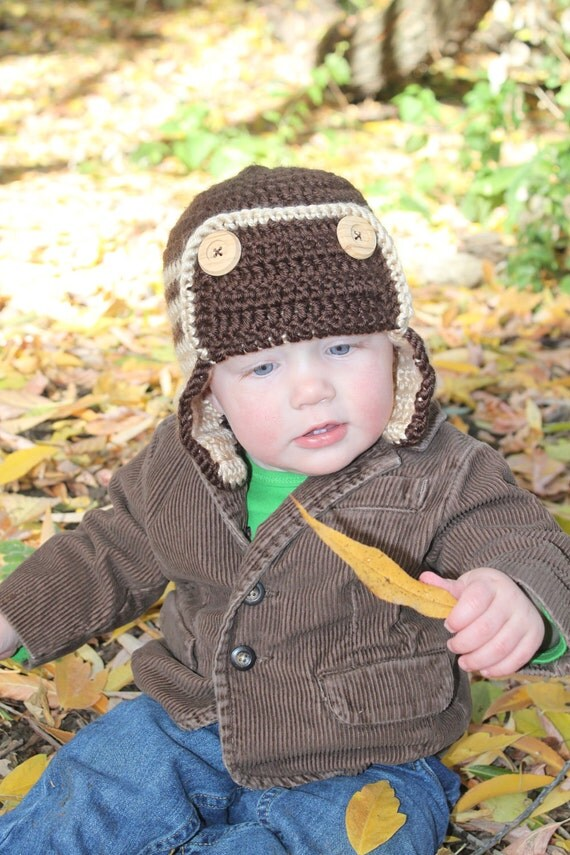 Baby Boy Aviator Hat, Crochet Earflap Hat, Baby Boy Crochet Hat, Toddler Boy Crochet Hat, Crochet Beanie